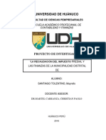 RECAUDACION DEL IMPUESTO PREDIAL Y LAS FINANZAS EN LA MUNICIPALIDAD DISTRITAL DE  CHAGLLA  PERIODO 2018