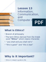 LESSON 13 INFORMATION, COMMUNICATION AND INFORMATION ETHICS
