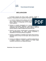 Declaración Pleanario Nacional Del Frente Amplio 5 de Marzo 2016