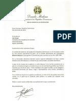 Carta de condolencias del presidente Danilo Medina a Iván Duque, presidente de la República de Colombia, por fallecimiento de Belisario Betancur, exmandatario colombiano