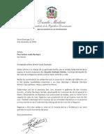 Carta de condolencias del presidente Danilo Medina a Pura Selman viuda Dauhajre por fallecimiento de su esposo, Eduardo Dauhajre Hasbún