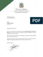 Carta de condolencias del presidente Danilo Medina a Frederick Martínez por fallecimiento de su abuela-madre Cleotilde Martínez Severino (Luz María)