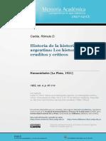 Rómulo Carbia - Historia de La Historiografía Argentina. Los Historiógrafos Críticos y Eruditos
