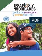 Desafios y Prioridades Politica de Adolescencia y Jovenes Peru - ONU
