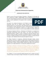 Ley de Ejercicio Profesional de La Ingeniería