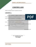 Certificado Cafe