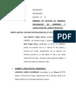 Dda. Peticion de Herencia y Declaracion - Cancelacion de Asientos