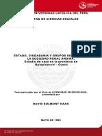 ESTADO, CIUDADANIA Y GRUPOS SOCIALES EN LA SOCIEDAD RURAL ANDINA, Estudio de caso en la provincia de  Quispicanchi - Cusco