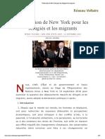 Déclaration de New York pour les réfugiés et les migrants