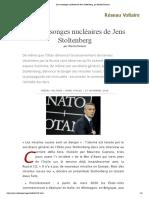 Les mensonges nucléaires de Jens Stoltenberg, par Manlio Dinucci