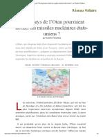 Quels pays de l'Otan pourraient abriter les missiles nucléaires états-uniens _, par Valentin Vasilescu