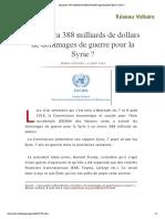 Qui Paiera 388 Milliards de Dollars de Dommages de Guerre Pour La Syrie