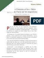 António Guterres et les « fakes news » du Pacte sur les migrations
