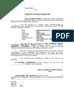 Affidavit of New Operator