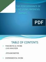 Performance of Diesel engine using bio diesel blends.