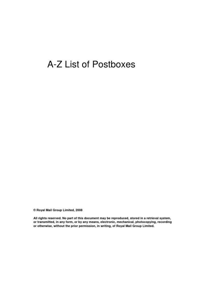 PO Boxes A-Z | Postal System | Logistics