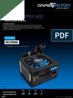 Ficha Fuente de Poder 400 Watts 80 Plus PSG400