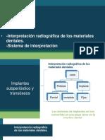 Interpretación Radiográfica de Los Materiales Dentales