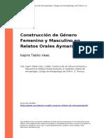 Kapris Tabilo Veas. (1998). Construccion de Genero Femenino y Masculino en Relatos Orales Aymaras