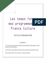 Les Temps Forts des programmes de France Culture - 21 au 31 décembre 2018
