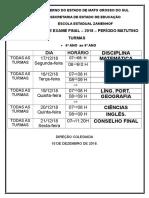Horário de Exame Final 2018 Matutino