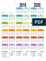 Three Year Calendar 2018 2019 2020 Landscape in Color