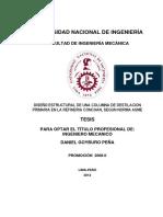 DISEÑO ESTRUCTURAL DE UNA COLUMNA DE DESTILACION PRIMARIA EN LA REFINERIA CONCHAN, SEGUN NORMA ASME