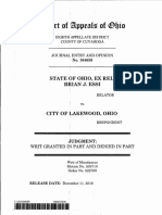 STATE OF OHIO, EX REL. BRIAN J. ESSI i i RELATOR i vs. CITY OF LAKEWOOD, OHIO ; RESPONDENT