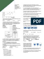 Química - Lista de Exercícios de Soluções e Solubilidade