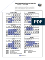 2019 New York State Legislative Session Calendar