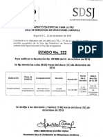 Estado N. 322 SDSJ Para Notificar La Resolucion N.001888 Del 31 Octubre de 2018