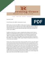 Redeeming Grace Baptist Church, VA Letter of Resignation 12 DEC 2018