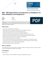 Ibm Algorithmics Introduction to Riskwatch for Data Modelers and Integrators