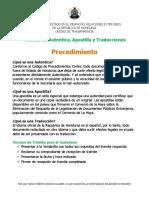 PROCEDIMIENTO Tramite de Autenticas, Traducciones y Apostillas