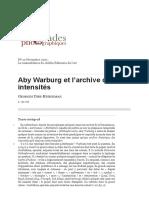 Aby WarburgEt l'Archive Des Intensités