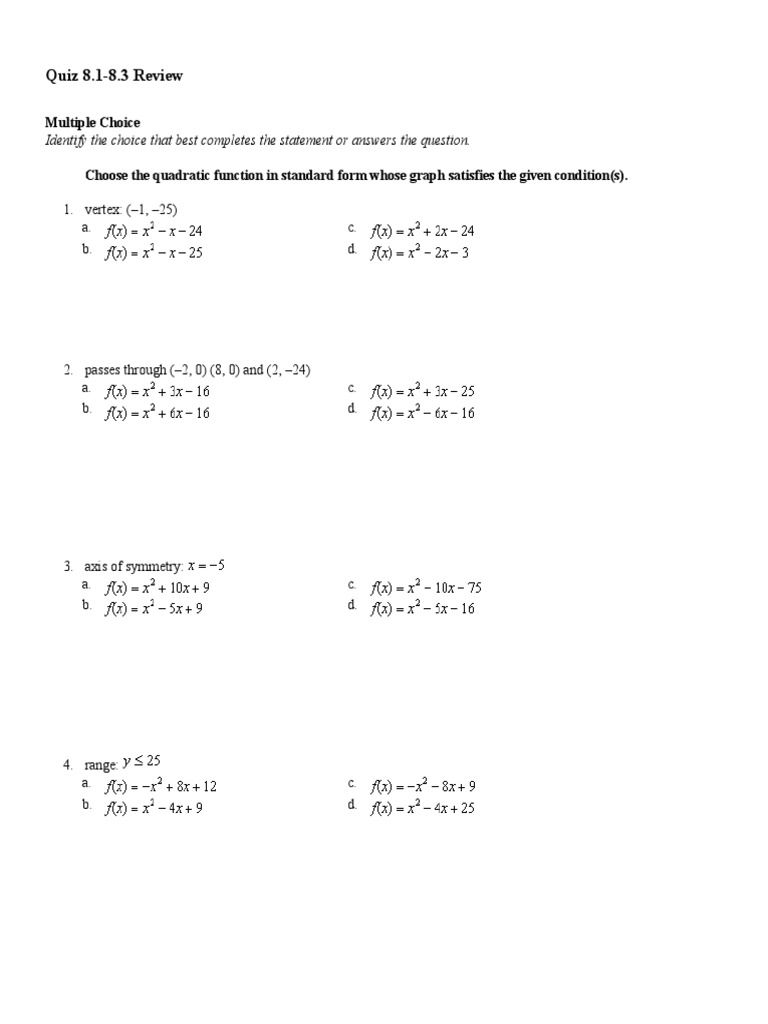 Quadratic Function Quiz Answer Key