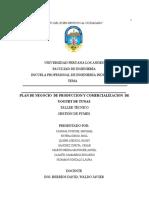 PLAN DE NEGOCIO  DE PRODUCCION Y COMERCIALIZACION  DE YOGURT DE TUNAS