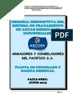 1. Memoria Descriptiva Del Sistema de Tratamiento de Aguas Residuales Industriales