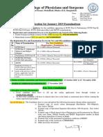 Notification for January 2019 Examinations