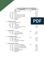 Sample Bill of Materials for Construction