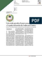 Università, prestito d'onore senza garanzie - Il Corriere della sera del 13 dicembre 2018