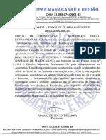 EDITAL DE CONVOCAÇÃO DOS TRABALHADORES DA EMPRESA M DIAS BRANCO S/A UNIDADE MARACANAÚ-CE