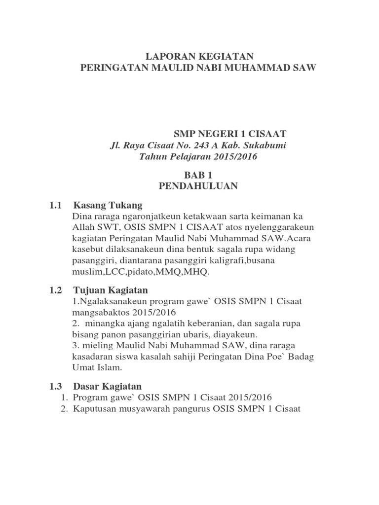 Laporan Kegiatan Peringatan Maulid Nabi Muhammad Saw Jl Raya Cisaat No 243 A Kab Sukabumi Tahun Pelajaran 2015 2016