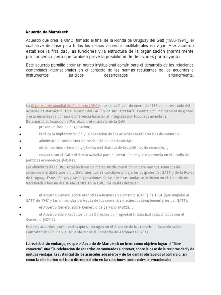 Acuerdo De Marrakech Organización Mundial Del Comercio