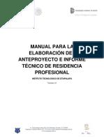 Manual Para La Elaboracion de Anteproyecto e Informe Tecnico de Residencia Profesional 1.0