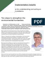 Christopher Kueffer Ten Steps to Strengthen the Environmental Humanities