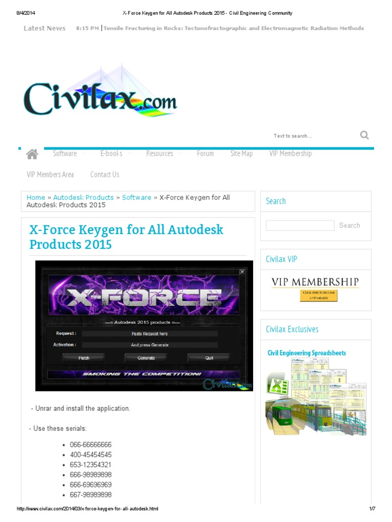 X Force Keygen For All Autodesk Products 2015 Civil
