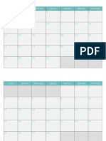 Calendario 2019 Mensual Turquesa