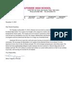 Southside HS letter - 12/13/18