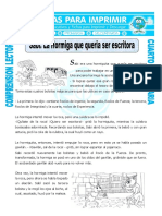 Ficha Sabi La Hormiga Que Queria Ser Escritora Para Cuarto de Primaria